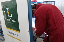 Lakeland College gave students the opportunity to weld.
