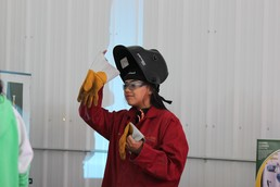 Students were outfitted with all the required equipment for welding.